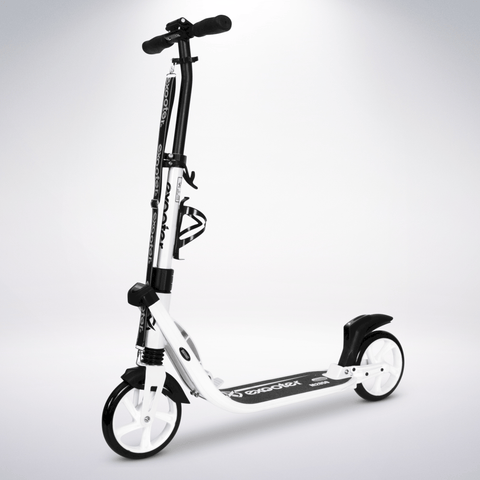 EXOOTER M2050WW 9XL Adult Cruiser Kick Scooter With Dual Suspension Shocks And 200mm White Wheels In White Finish.