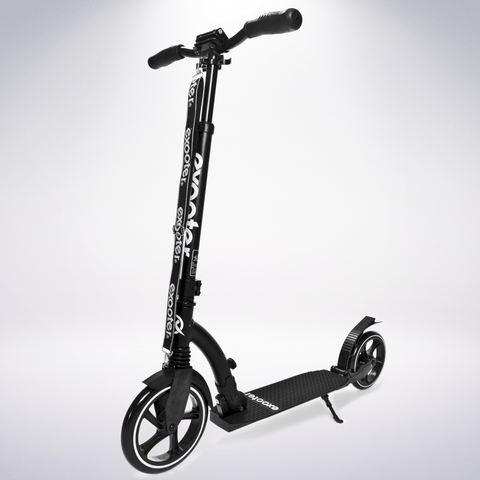 EXOOTER M6 Adult Kick Scooter With Dual Suspension Shocks And 240mm/200mm Big Wheels In Black.