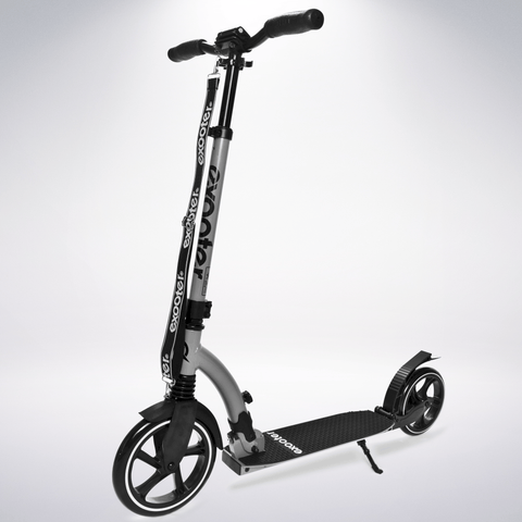 EXOOTER M6 Adult Kick Scooter With Dual Suspension Shocks And 240mm/200mm Big Wheels In Gray.