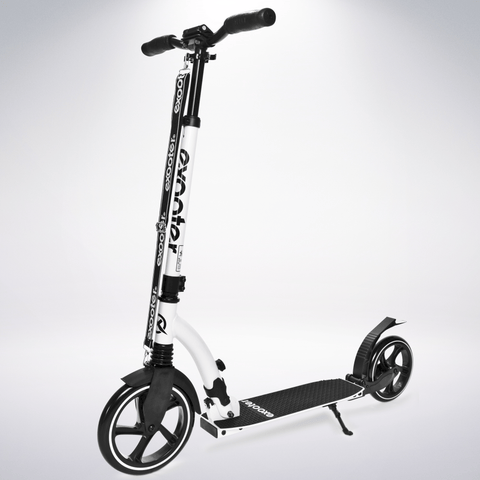 EXOOTER M6 Adult Kick Scooter With Dual Suspension Shocks And 240mm/200mm Big Wheels In White.