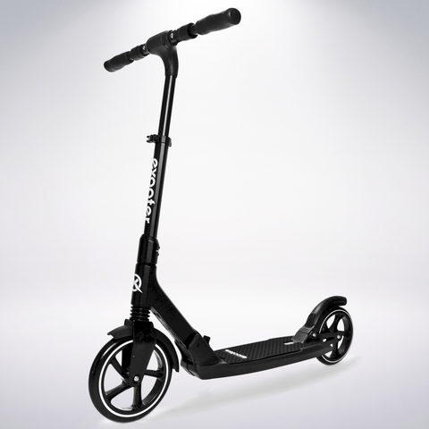 EXOOTER M7 Adult Kick Scooter With Dual Suspension Shocks And 240mm/200mm Big Wheels In Black.