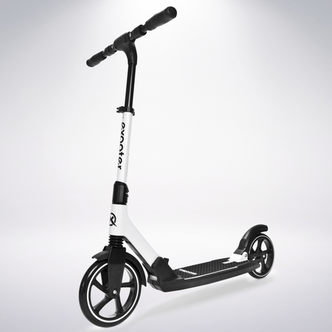 EXOOTER M7 Adult Kick Scooter With Dual Suspension Shocks And 240mm/200mm Big Wheels In White.