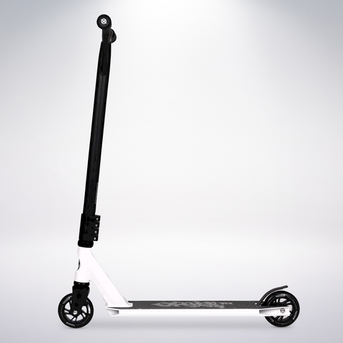 EXOOTER T3WT Trick Scooter With 110mm Aluminum Core Wheels In White.