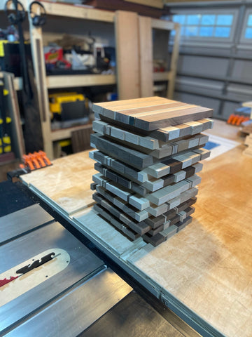 18 small boards ready for glue up tomorrow!
