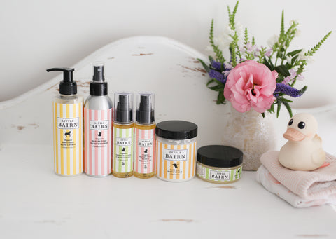 Organic Natural Baby and Mum Skincare range with baby powder and nappy rash cream