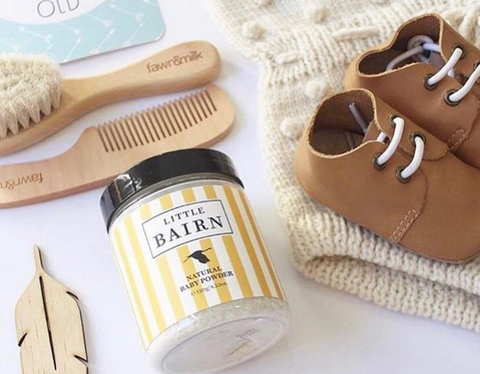 Organic Natural Baby powder with baby shoes and hair brush