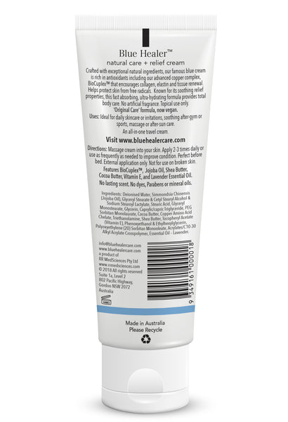 Full Ingredients on Back Label of Blue Healer daily relief cream | Blue Healer Care