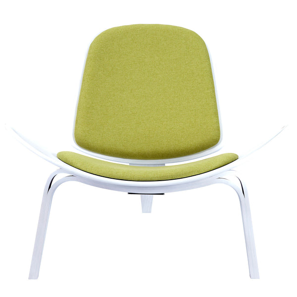 Avocado Green Shell Chair - White