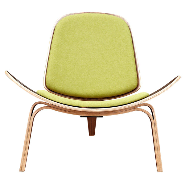 Avocado Green Shell Chair - Walnut
