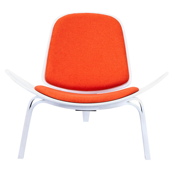Retro Orange Shell Chair - White