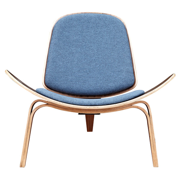 Dodger Blue Shell Chair - Walnut