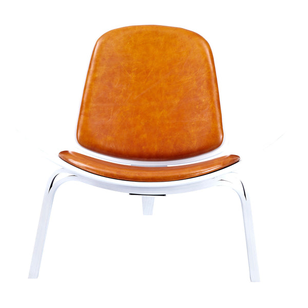 Burnt Orange Shell Chair - White
