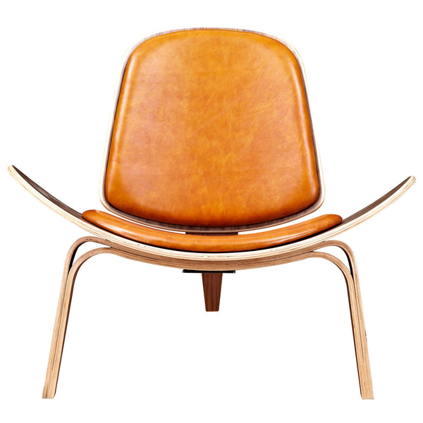 Burnt Orange Shell Chair - Walnut