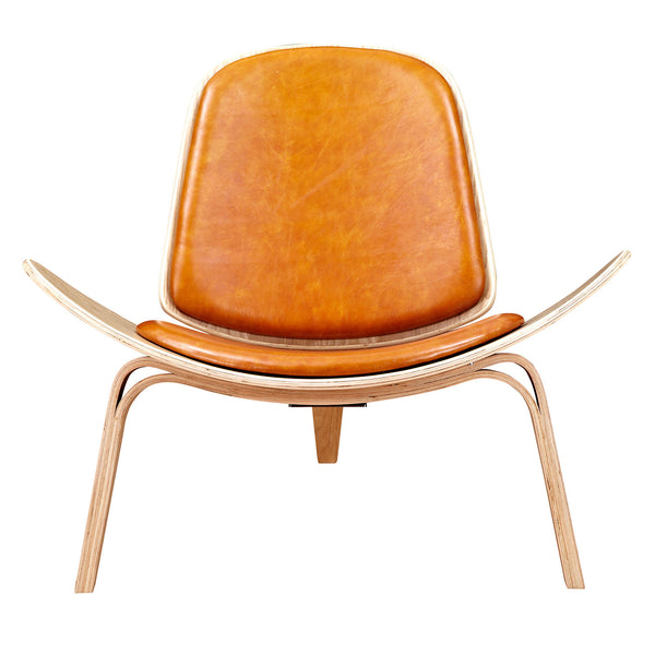 Burnt Orange Shell Chair - Natural