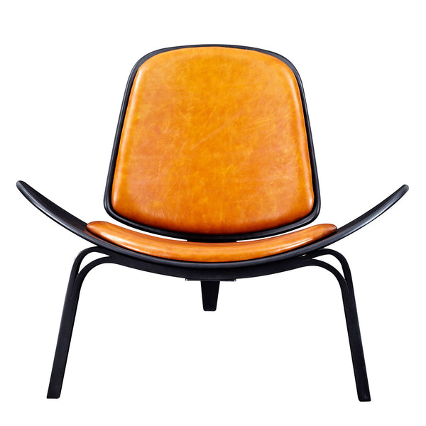 Burnt Orange Shell Chair - Black