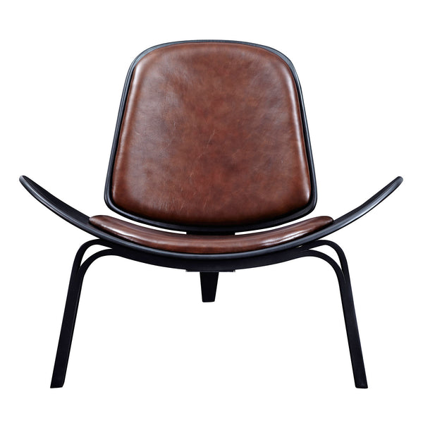 Aged Cognac  Shell Chair - Black