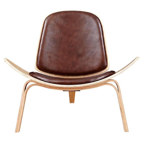 Aged Cognac Shell Chair - Natural