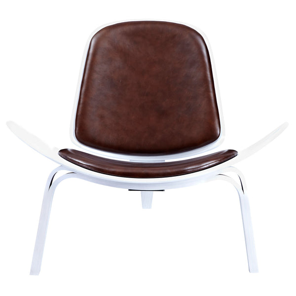 Aged Cognac Shell Chair - White