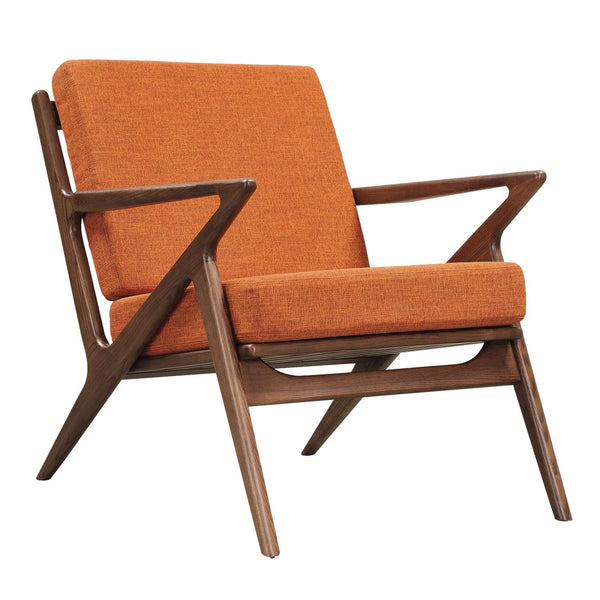 Burnt Orange Zain Chair - Walnut