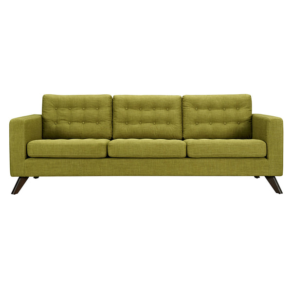 Avocado Green Mina Sofa - Walnut