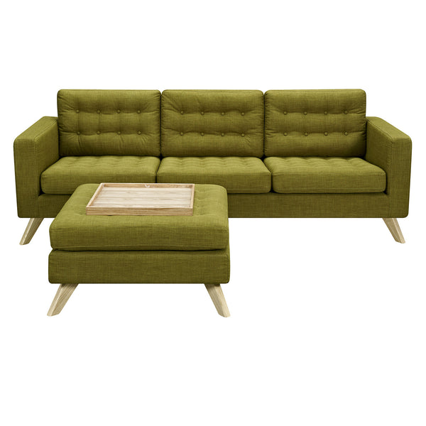 Avocado Green Mina Sofa Set - Natural