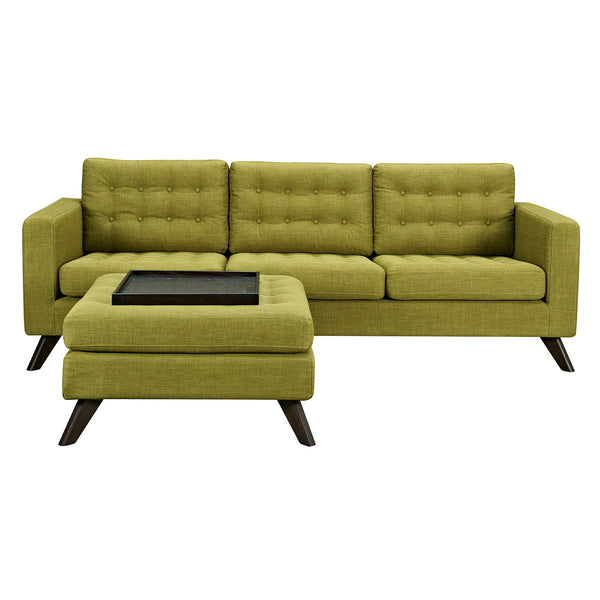 Avocado Green Mina Sofa Set - Walnut