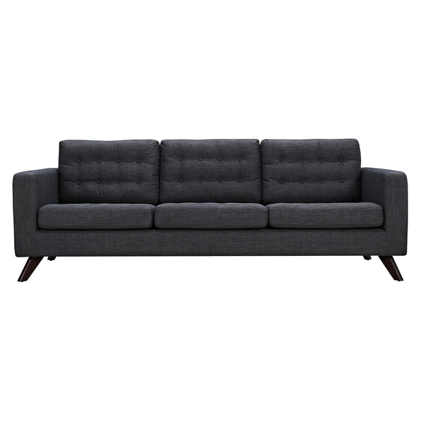 Charcoal Gray Mina Sofa - Walnut