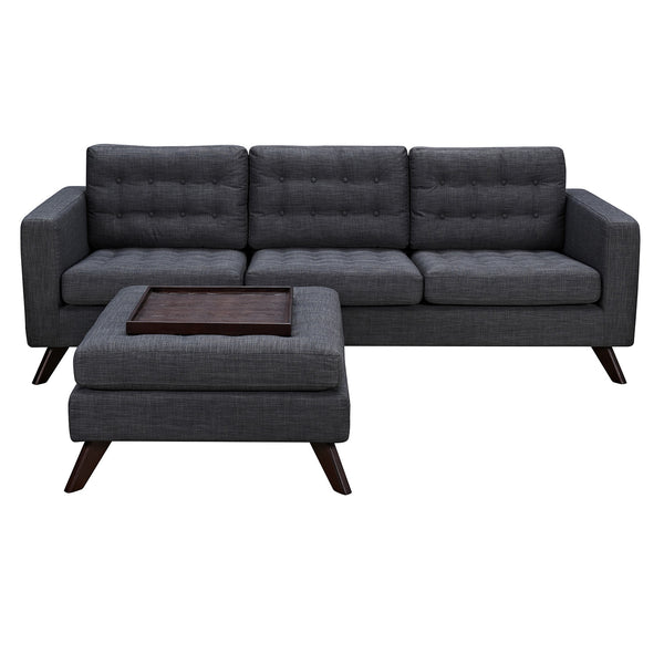 Charcoal Gray Mina Sofa Set - Walnut
