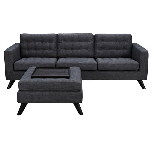 Charcoal Gray Mina Sofa Set - Black