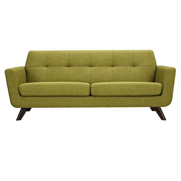 Avocado Green Dania Sofa - Walnut