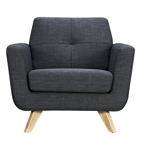 Charcoal Gray Dania Armchair - Natural