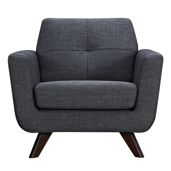 Charcoal Gray Dania Armchair - Walnut