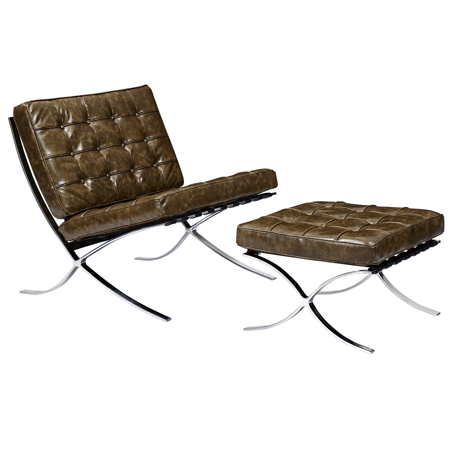 Outstanding Palermo Olive Mies Chair And Ottoman Nyekoncept Gmtry Best Dining Table And Chair Ideas Images Gmtryco