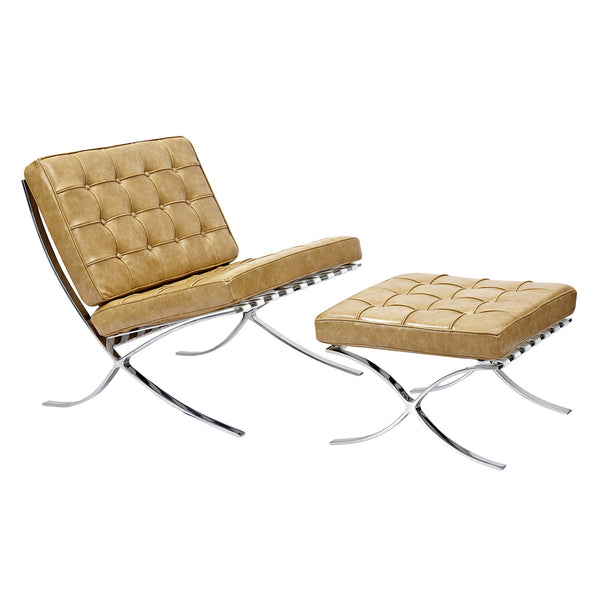 Aged Maple Mies Chair and Ottoman
