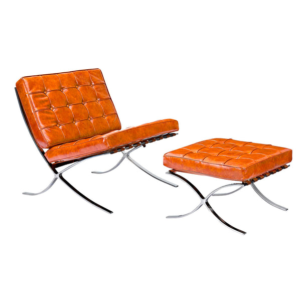 Burnt Orange Mies Chair and Ottoman
