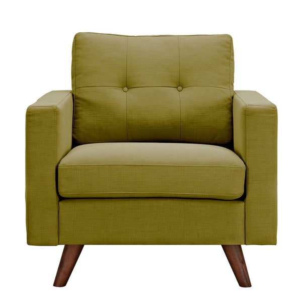 Avocado Green Uma Armchair - Walnut