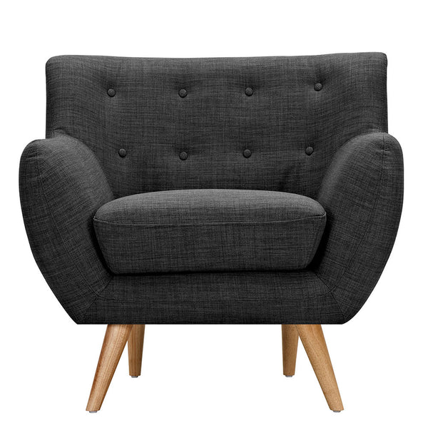 Charcoal Gray Ida Armchair -Natural