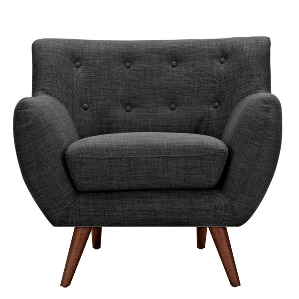 Charcoal Gray Ida Armchair -Walnut