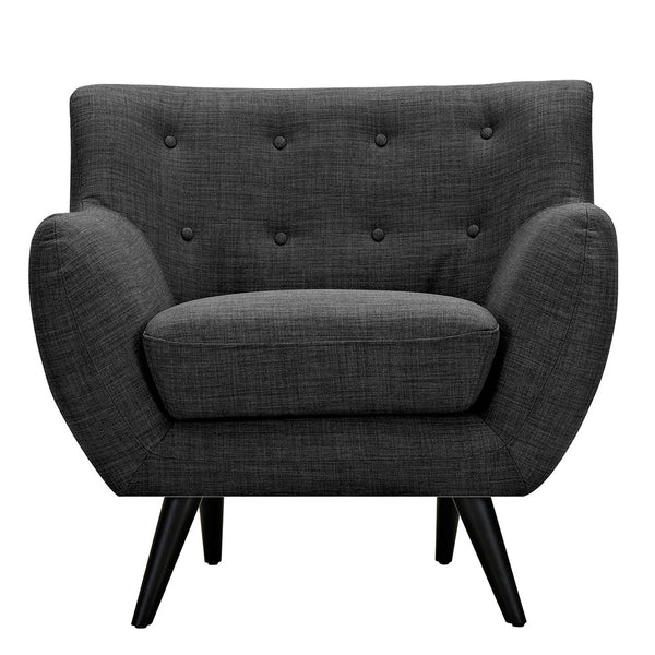 Charcoal Gray Ida Armchair- Black