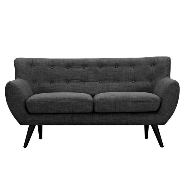 Charcoal Gray Ida Loveseat -Black