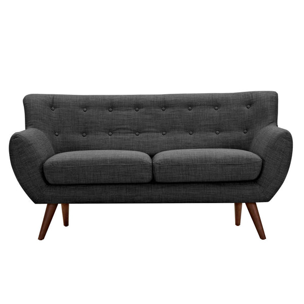 Charcoal Gray Ida Loveseat- Walnut