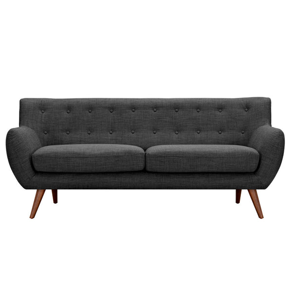 Charcoal Gray Ida Sofa - Walnut