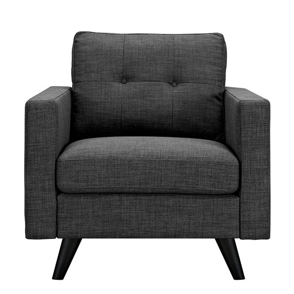 Charcoal Gray Uma Armchair - Black