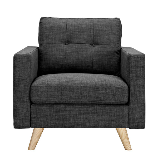 Charcoal Gray Uma Armchair - Natural