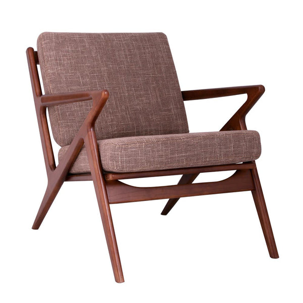 Deep Taupe Zain Chair - Walnut