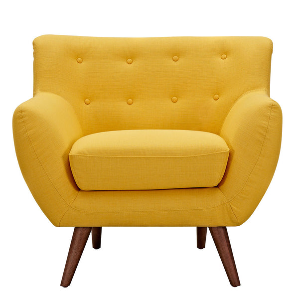 Papaya Yellow Ida Armchair -Walnut
