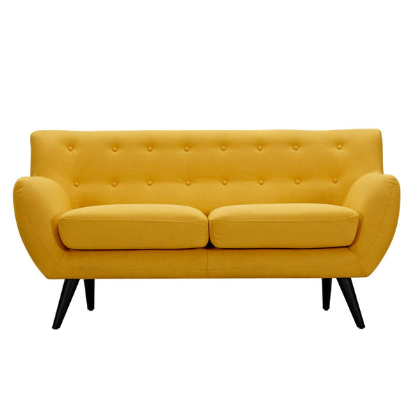 Papaya Yellow Ida Loveseat - Black