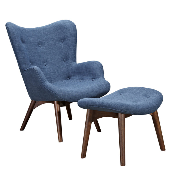 Dodger Blue Aiden Chair-Walnut