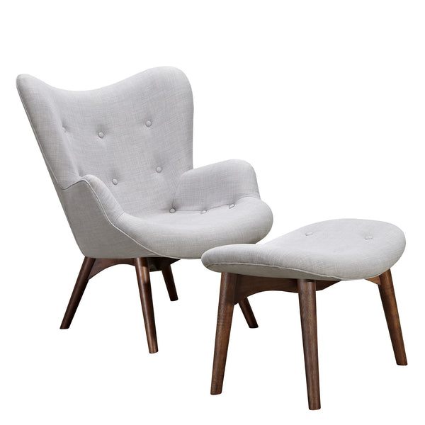 Glacier White Aiden Chair-Walnut