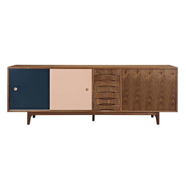Teal and Peach Alma Sideboard- Walnut